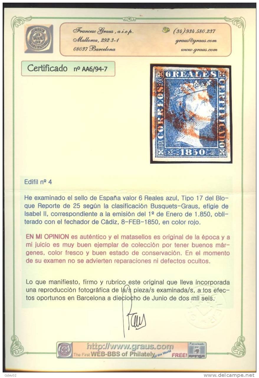 ES4-2984.España.Spain  Espagne ISABEL II 1850.(Ed 4º)circulado CERTIFICADO GRAUS.   .LUJO - 1850-68 Reino: Isabel II