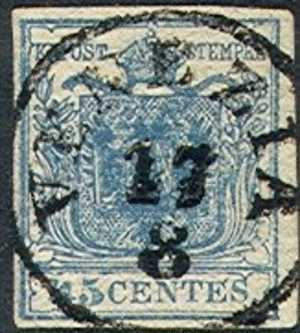 Lombardy-Venetia    6f, Type L Used, SCV$  57.50,  (lv006a-3, Michel 5l,    Blue - Lombardije-Venetië