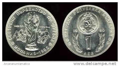 """BULGARIA  """"PROOF""""1  LEV  CU NI  1.980   MUNDIAL DE FUTBOL   KM#107  SC/UNC   DL-9546 - Bulgaria"""