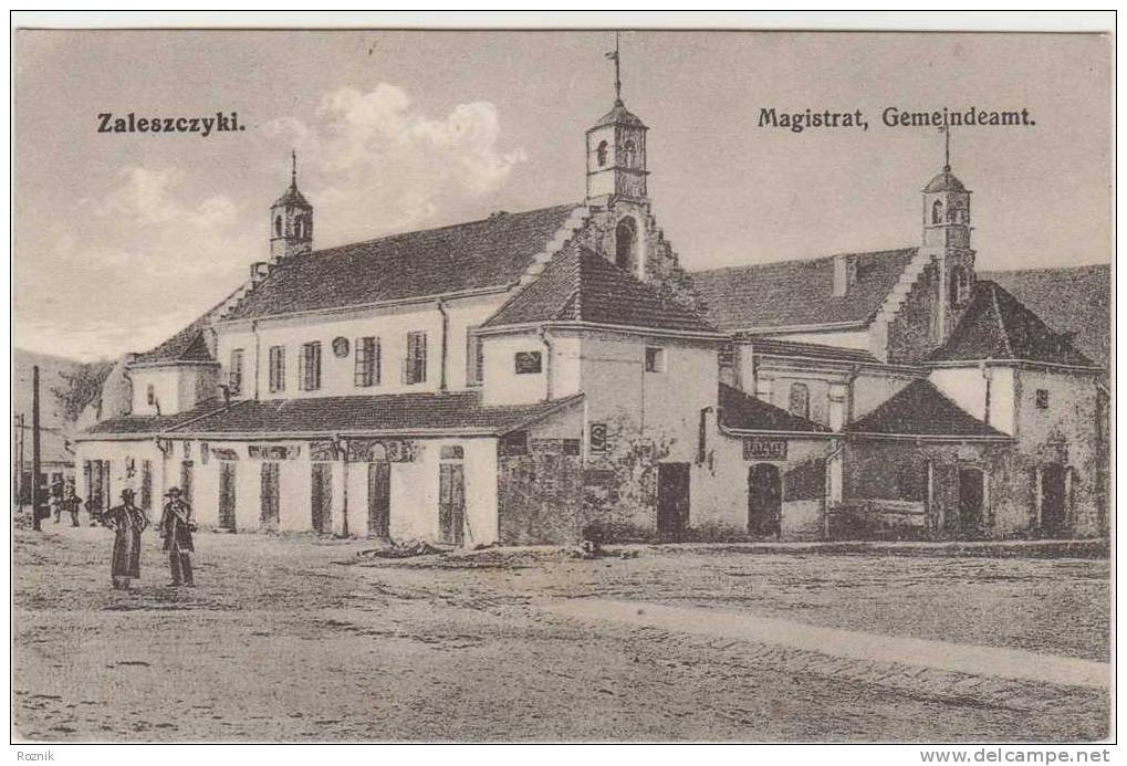 POLAND ZALESZCZYKI OLD USED POSTCARD 1916 MAGISTRAT GEMEINDEAMT - Polen