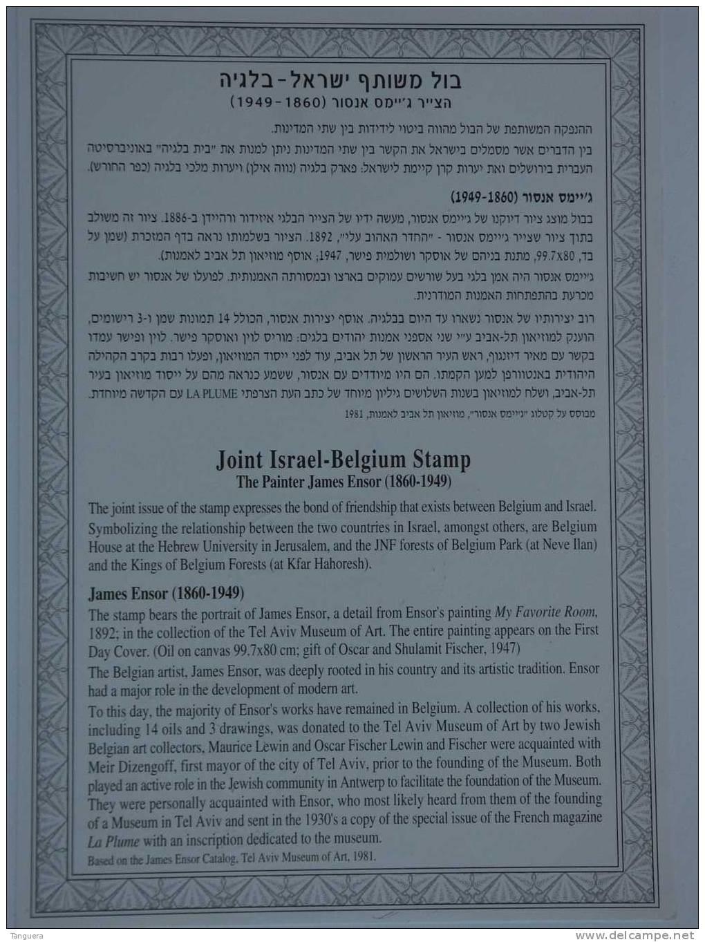 België Belgique Belgium Israel 1999 Herdenkingskaart Carte Souvenir Souvenir Leaf James Ensor Peintre Painter - Souvenir Cards