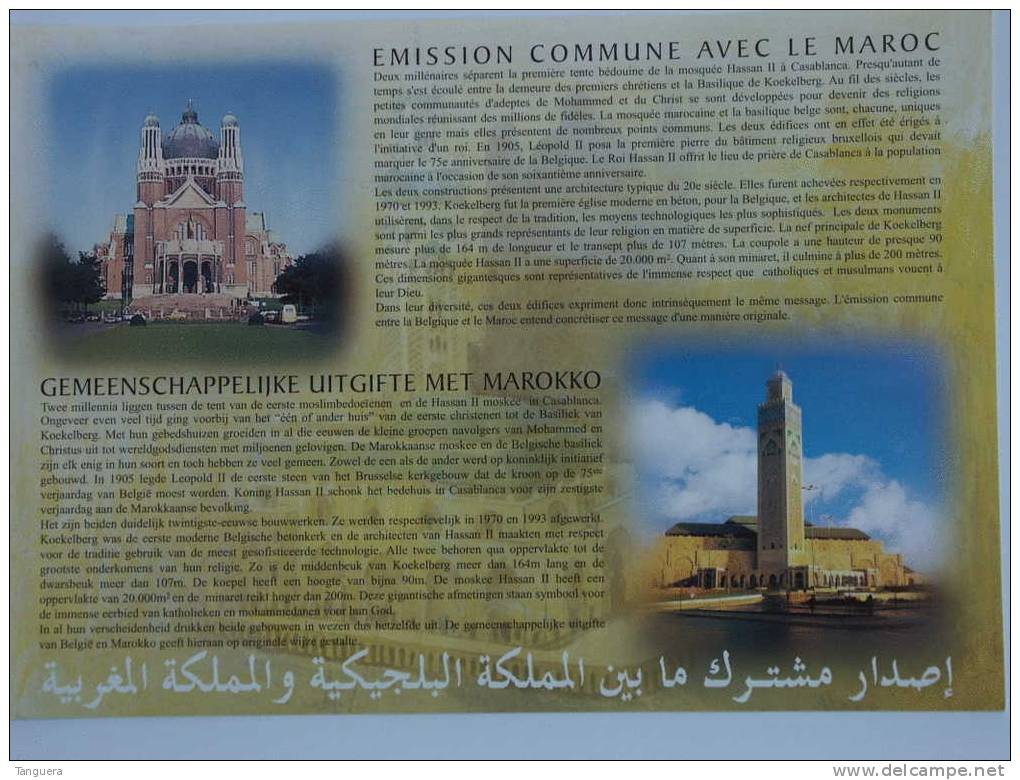 België Belgique Marokko Maroc 2001 Herdenkingskaart Carte Souvenir Moskee Basiliek Mosque 3002HK 3002-3003 Yv 1282-1283 - Cartas Commemorativas