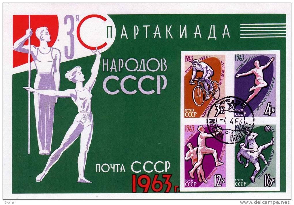 Radsport Volleyball Weitsprung Fußball Sowjetunion 2773/7+ Block 32 O 3€ Spartakiade Olympia Tokio Bloc Sheet Bf USSR SU - Summer 1964: Tokyo