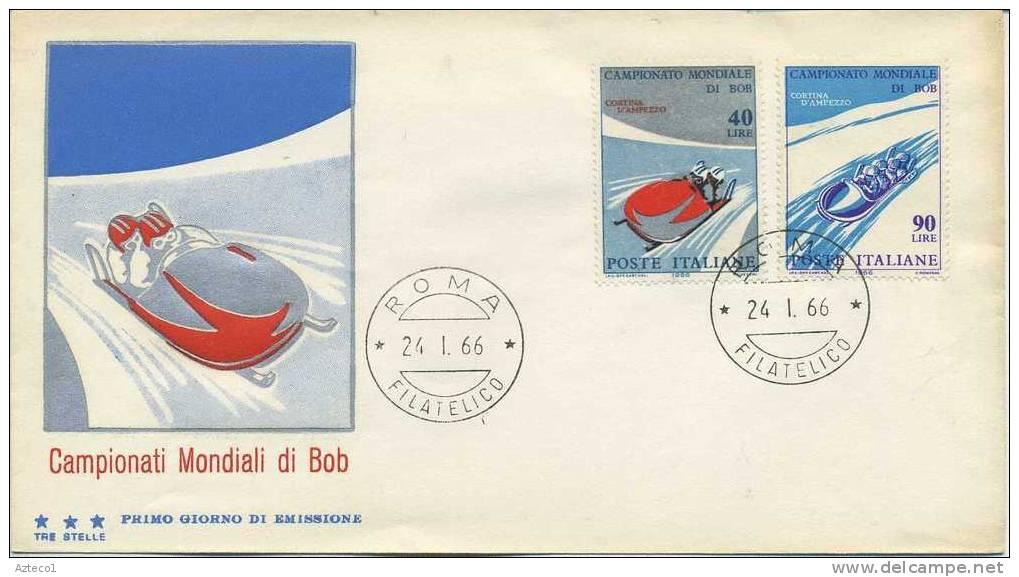ITALIA - FDC TRE STELLE 1966 - CAMPIONATI MONDIALI DI BOB - SPORT - - F.D.C.