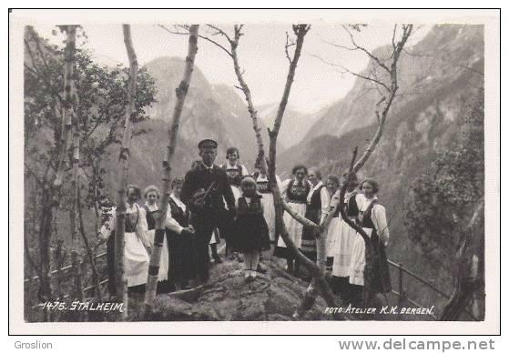 STALHEIM 1475 CARTE PHOTO  (MUSICIEN ET JEUNES FEMMES BEAU PLAN ANIME) - Norvège