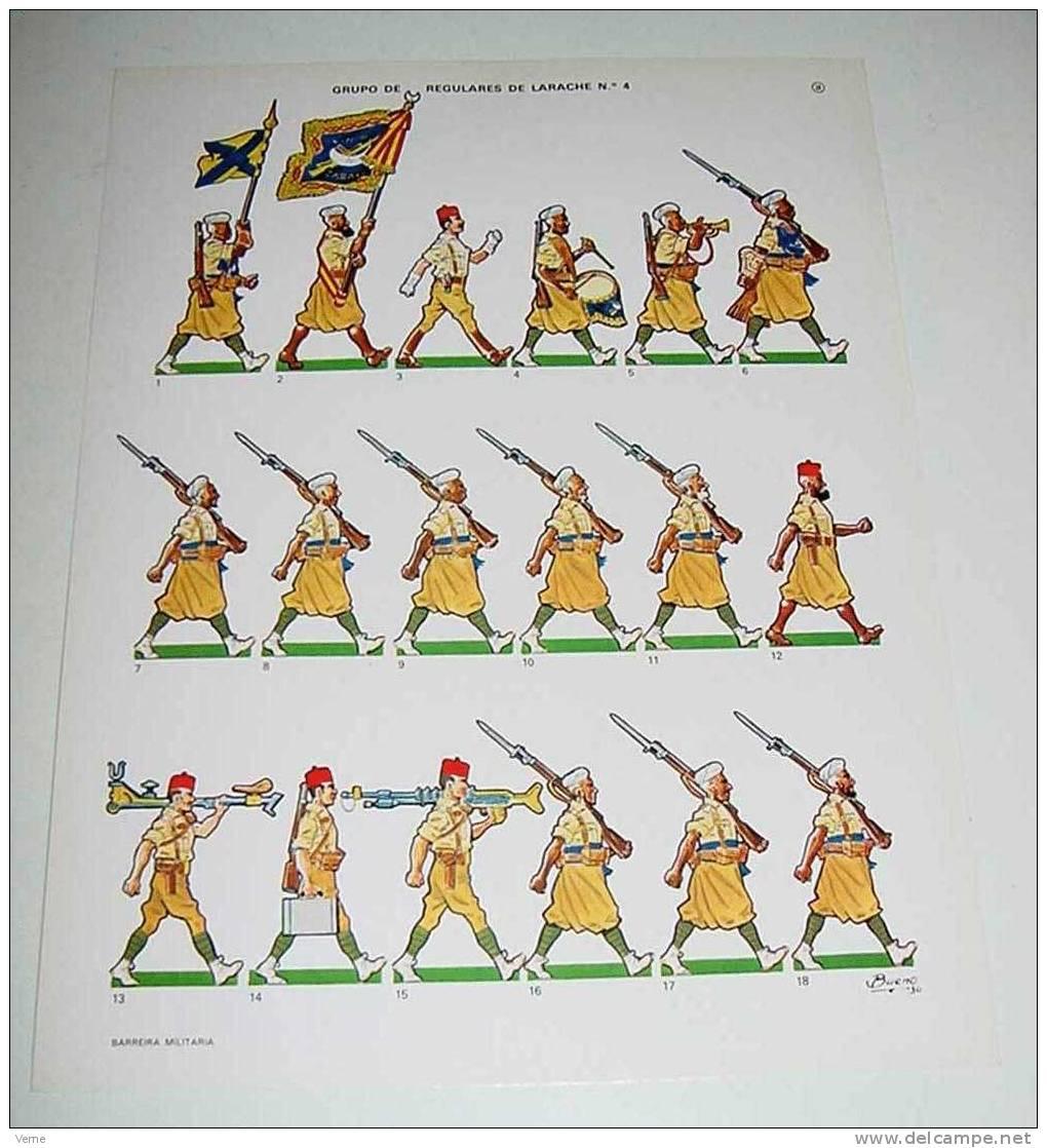 ANTIGUO RECORTABLE DE GRUPO DE REGULARES DE LARACHE Nº 4, GUERRA CIVIL, EDITADO POR BARREIRA MILITARIA MIDE 31,5CM X 24C - Militares