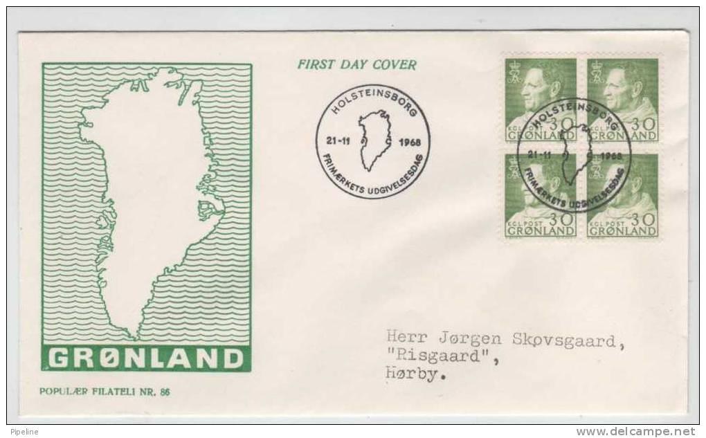 Greenland FDC In Block Of 4 21-11-1968 King Frederik IX  With Cachet Sent To Denmark - Non Classificati