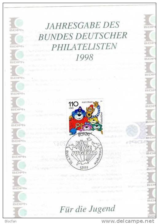 Jahresgabe 1998 Jugend Trickfilm-Figuren BRD1990/4+ JG 20 **/o 28€ Maus, Sandmännchen, Biene Maja, Blaubär, Pumuckl - Blocs