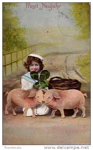 CPA COCHON COCHONS ENFANT FILLE   ** CHILD GIRL PIG PIGS **  VARKEN - Cochons