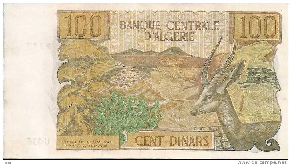 - ALGERIE - BILLETS - 1970 - 100 - CENT DINARS - N° K - 054 - 62876 - Argelia