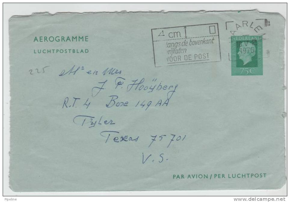 Netherlands Aerogramme Sent To USA Harlem 10-5-1976 - Postal Stationery