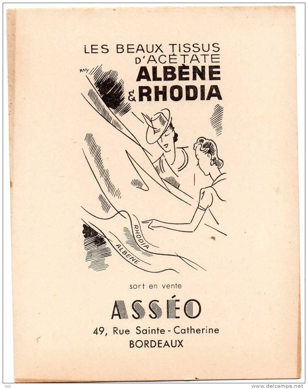 """BORDEAUX 33 Gironde""""les Beaux Tissus D´Acétate Albène Et Rhodia ASSEO (1) 49 Rue Sainte Catherine-Publicité *PRIX FIXE - Bordeaux"""