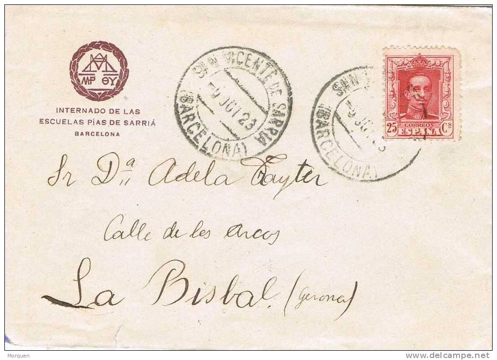 Carta SAN VICENTE De SARRIA (Barcelona) 1923 - 1889-1931 Reino: Alfonso XIII