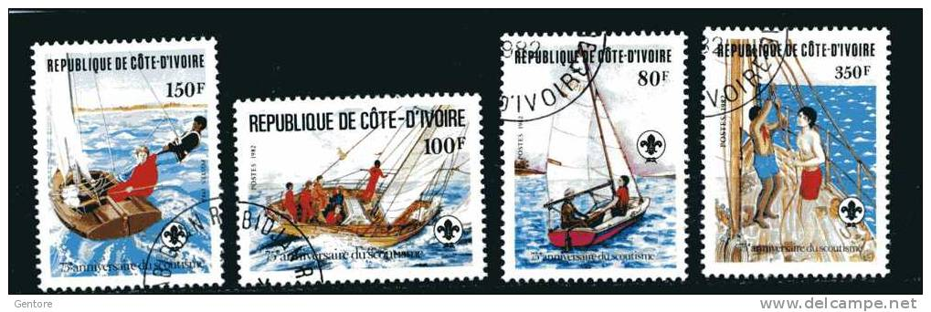 1982 IVORY COAST Scouting Cpl Set Of 4 Yvert Cat N° 613/16 Fine Used With Clear Cancellation - Scouting