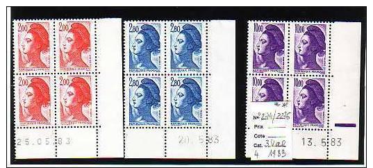 FRANCE LIBERTE COINS DATES N° 2274 / 2276 ** - 1980-1989