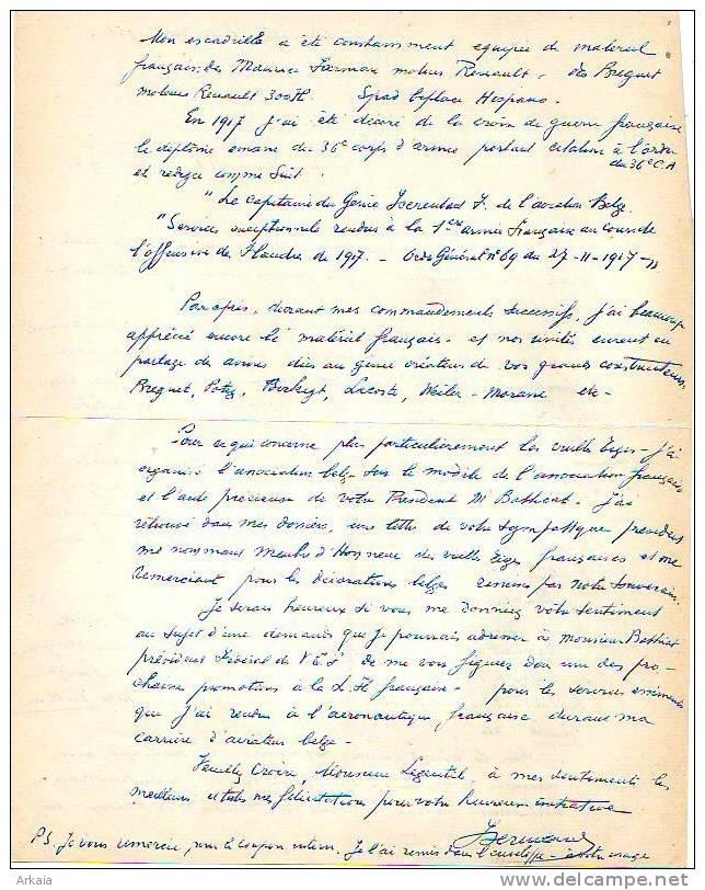 AVIATION = Général Félix Isserentant - Brevet 67 Belge Du 28-02-1913 - Fondateur En 1937 De - Autographes