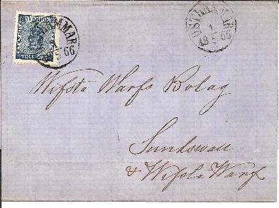 S003a Brief Mit / Mi.Nr. 9 B Ex Osthammar Nach Sundswall 1866 - Schweden