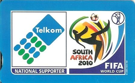 "SOUTH AFRICA Used Phonecard/ Gebruiklte Telefoonkaart ""TELKOM FIFA SUPPORTER""(Blue Background) - South Africa"