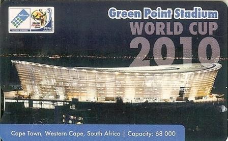 """SOUTH AFRICA Used Phonecard/ Gebruiklte Telefoonkaart """"2010 SOCCERSTADIUM GREEN POINT"""" - Sport"""