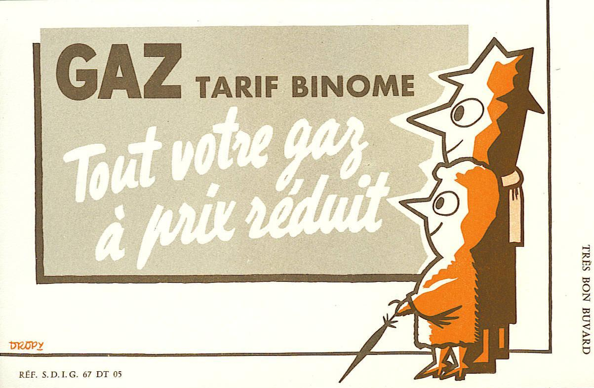EDF-GDF -  Années 60 -  Gaz à Prix Réduit Par Le Tarif Binôme  - Illustrateur Dropy  - Etat Neuf - Electricité & Gaz