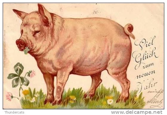 CPA CARTE LITHO PRECURSEUR COCHON COCHONS  ** PIG PIGS **  VARKEN **  WEZEL & NAUMANN LEIPZIG SERIE V NO 2 - Cochons