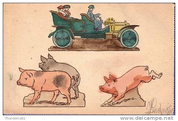 CPA COCHON COCHONS  ** PIG PIGS **  VARKEN ** DECORER A LA MAIN ** HAND PAINTED - Cochons