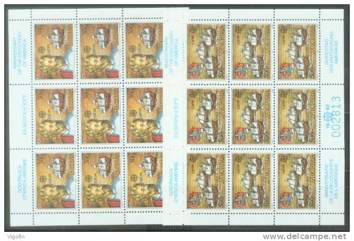 YU 1992-2534-5 EUROPA CEPT, YUGOSLAVIA, 2MS, MNH - Blocks & Kleinbögen