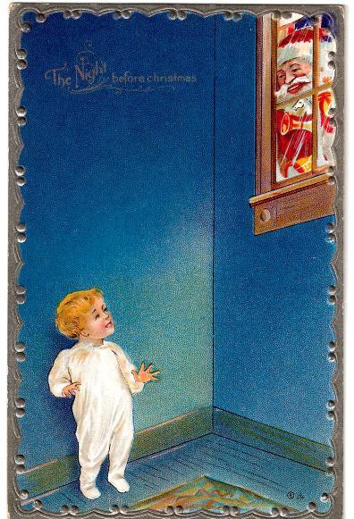 Santa Claus Vintage Postcard, Peeks At Child - Santa Claus