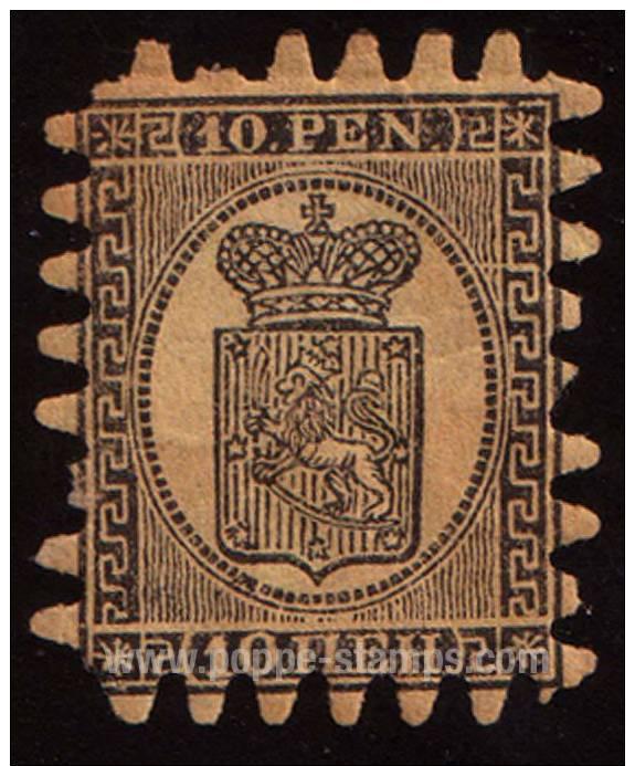 Finland, 1866, 10p. , SG:31, Hinged, Used, Symbols, Heraldic... - Finland