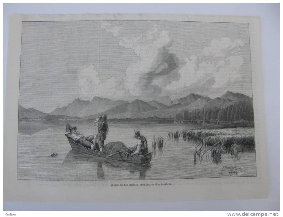 Fischer Auf Dem Chiemsee - Max Haushofer -painter , Kunstakademie Prag Praha  -wood Engraving  1856 J339.17 - Estampes & Gravures