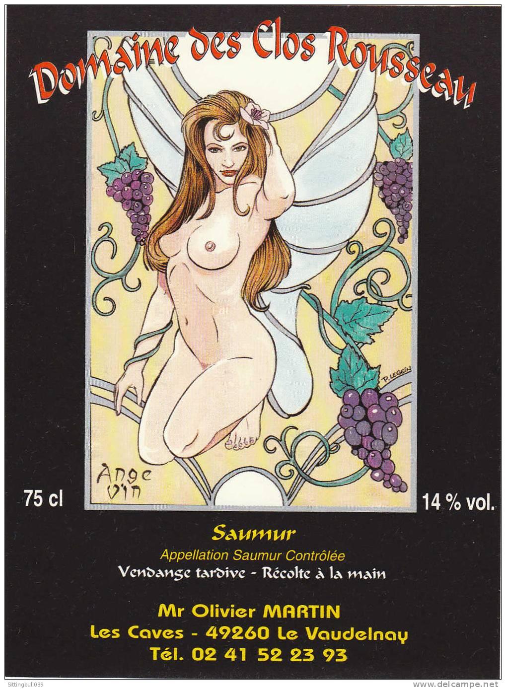 LEGEIN. Etiquette De Vin ANGE VIN. Domaine Des Clos Rousseau. Saumur, Pour ANGERS BD 2000. Epuisée ! - Objets Publicitaires