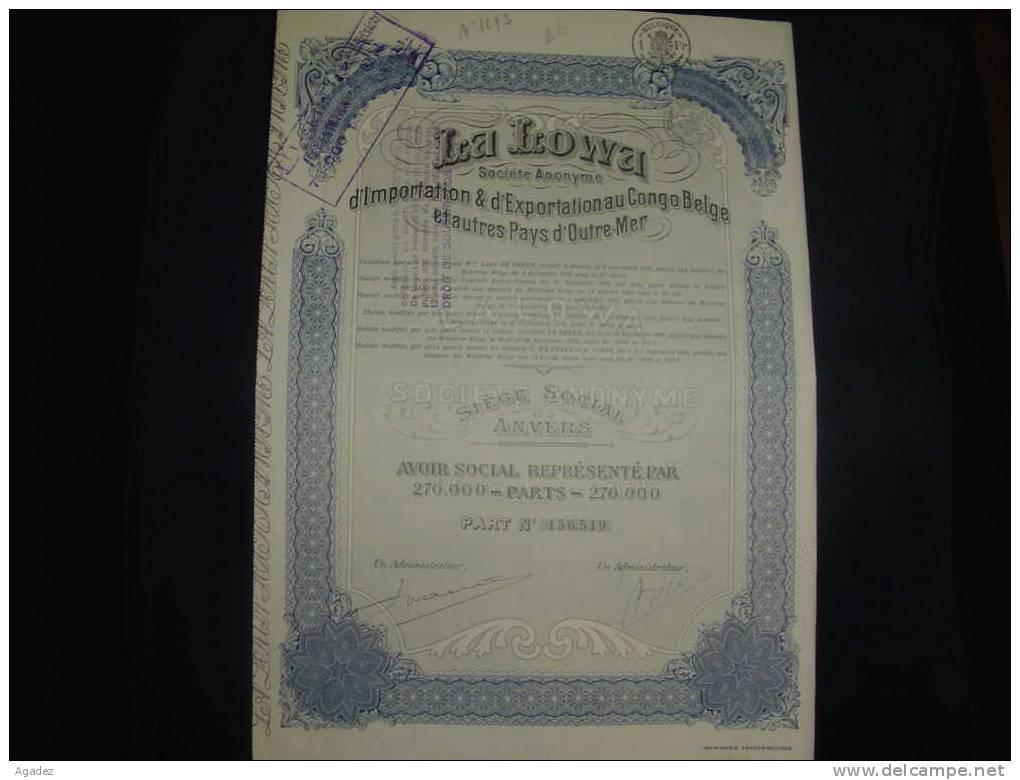 """Part """"La Lowa"""" Importation Et Exportation Au Congo Belge Et Outre Mer  1925 - Afrique"""