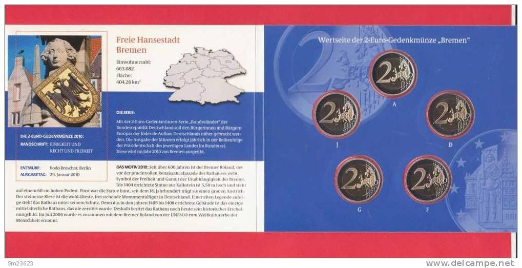 """BRD - 2 Euro - Gedenkmünzenset 2010 - Serie """"Bundesländer - Bremen - Spiegelglanz - Proof - SS - Germany"""