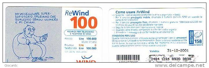 ITALIA - C.&C. 1236 - WIND GSM -   100  8^ SERIE ALTAN: HO UN CELLULARE SUPERSOFISTICATO 31-12-2001  - USATA - RIF. CP - Italia
