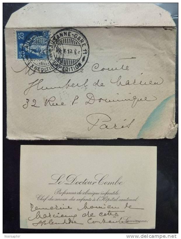 1913 LETTRE + CARTE DE VISITE Docteur COMBE PROFESSEUR CLINIQUE HOPITAL CANTONAL DE LAUSANNE SUISSE - Visiting Cards
