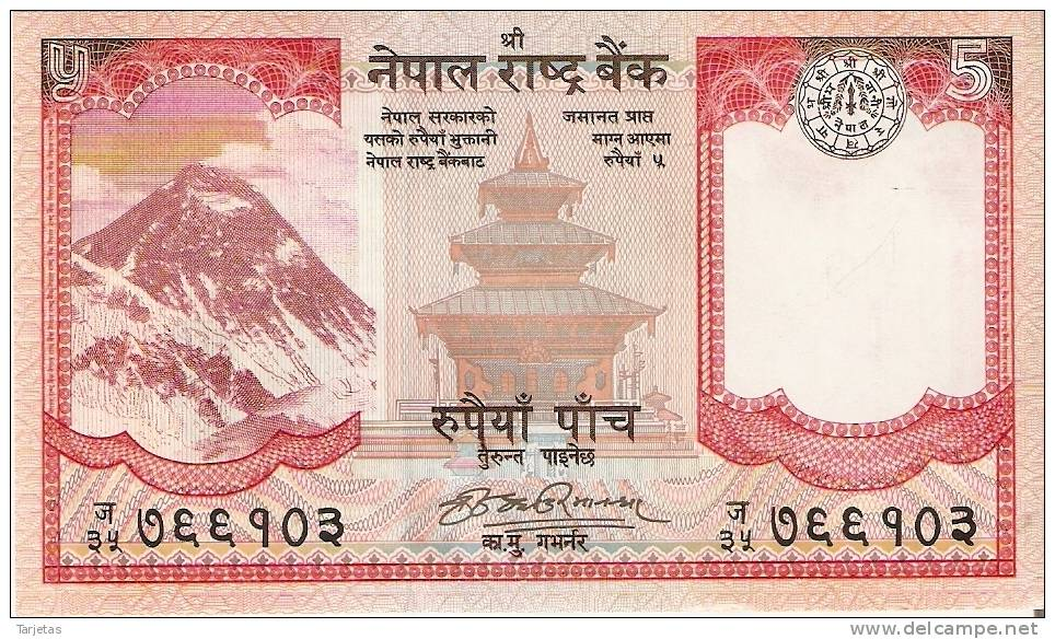 BILLETE DE NEPAL  DE 5 RUPEES SIN CIRCULAR (BANKNOTE) - Nepal