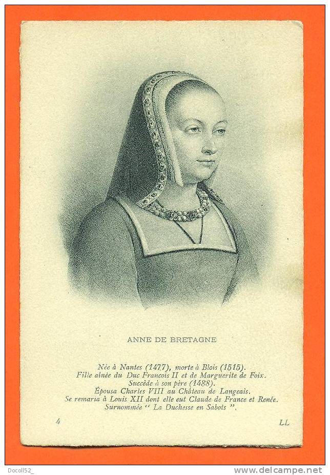 """Carte Fantaisie Femme Celebre  """"  Anne De Bretagne   """"  Femme De Charles VIII Et Louis XII - Femmes Célèbres"""