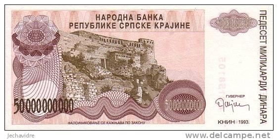 CROATIE   50 000 000 000 Dinara   Emission De 1993   Pick R29a     ***** BILLET  NEUF ***** - Croatie