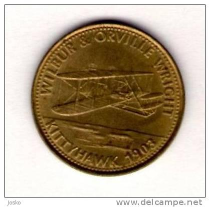 BROTHERS WRIGHT  Kittyhawk   - Shell *  Token Jeton Vale Ficha Gettone Fiche Tokens Jetons Plane Avion Aviation History - Tokens & Medals