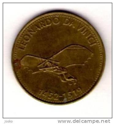 LEONARDO DA VINCI 1452-1519.  - Shell *  Token Jeton Vale Ficha Gettone Fiche Tokens Jetons Plane Avion Aviation History - Unclassified