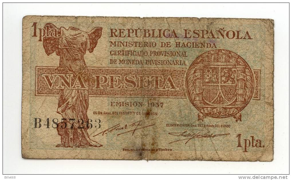 Espagne  1 Pesetas1937  Regence De Franco Espagne - [ 3] 1936-1975 : Régence De Franco