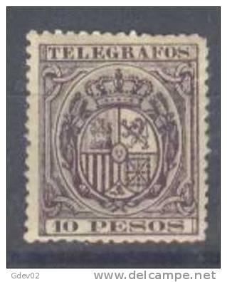 FPN36-B068TESS-MCEX1.Philipines.Escudos De España.TELEGRAFOS.FILIPIN AS  ESPAÑOL1890.(Ed  36**) Sin Charnela.MAGNIFICO. - Sellos