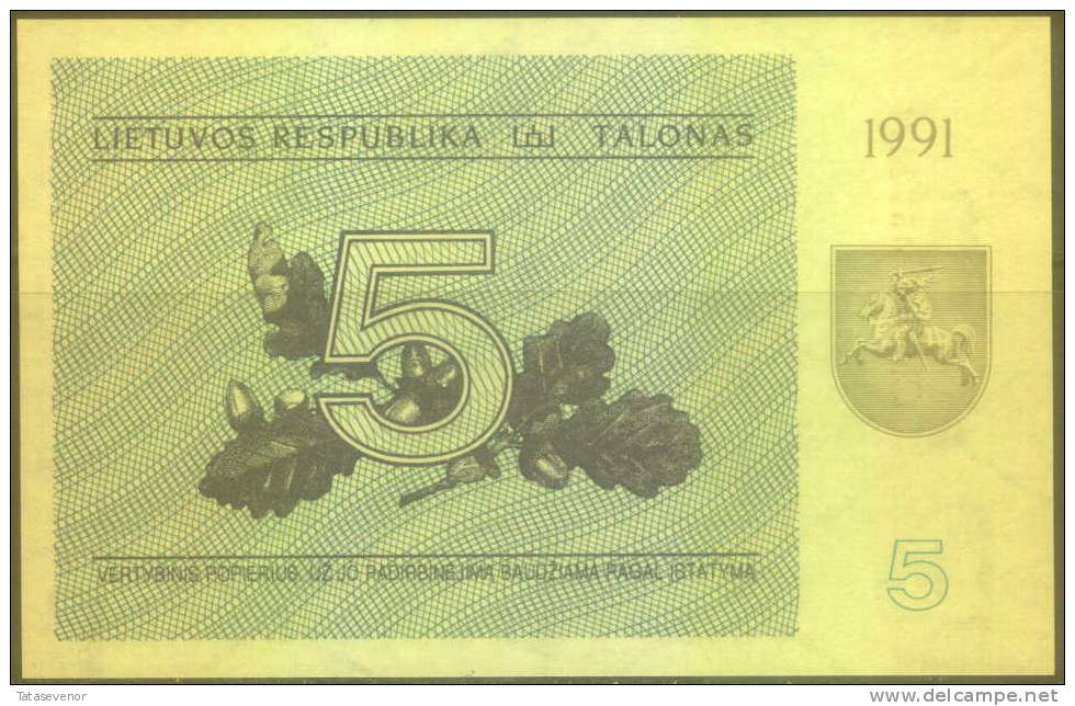Lithuania 5 Talonai Note, P34b, UNC - Lituanie