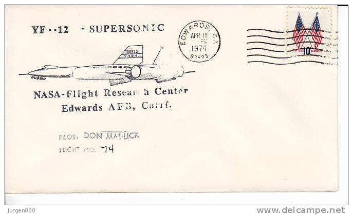 Don Mallick, Flight 14, YF-12-supersonic,NASA Flight Research Center, Edward's AFB, 1974 (3202) - Etats-Unis