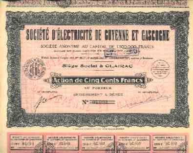 STE D´ELECTRICITE DE GUYENNE & GASCOGNE ( CLAIRAC ) - Electricité & Gaz