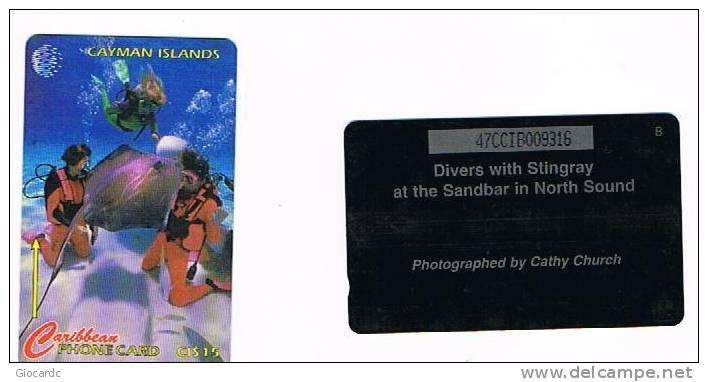 CAYMAN ISLANDS - GPT - 1995 VITA MARINA (DIVERS WITH STINGRAY AT THE SANDBAR) CODE 47CCIB    (USED)  - RIF.1014 - Isole Caiman