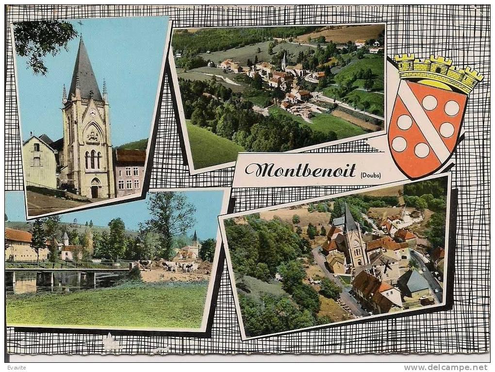 CPSM  (25)    Souvenir De....MONTBENOIT  -  Multivues Avec Blason (4 Vues) - France