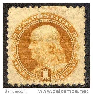 US #112b XF Mint Hinged 1c Buff Franklin Without Grill From 1869 (Certificate) - Unused Stamps