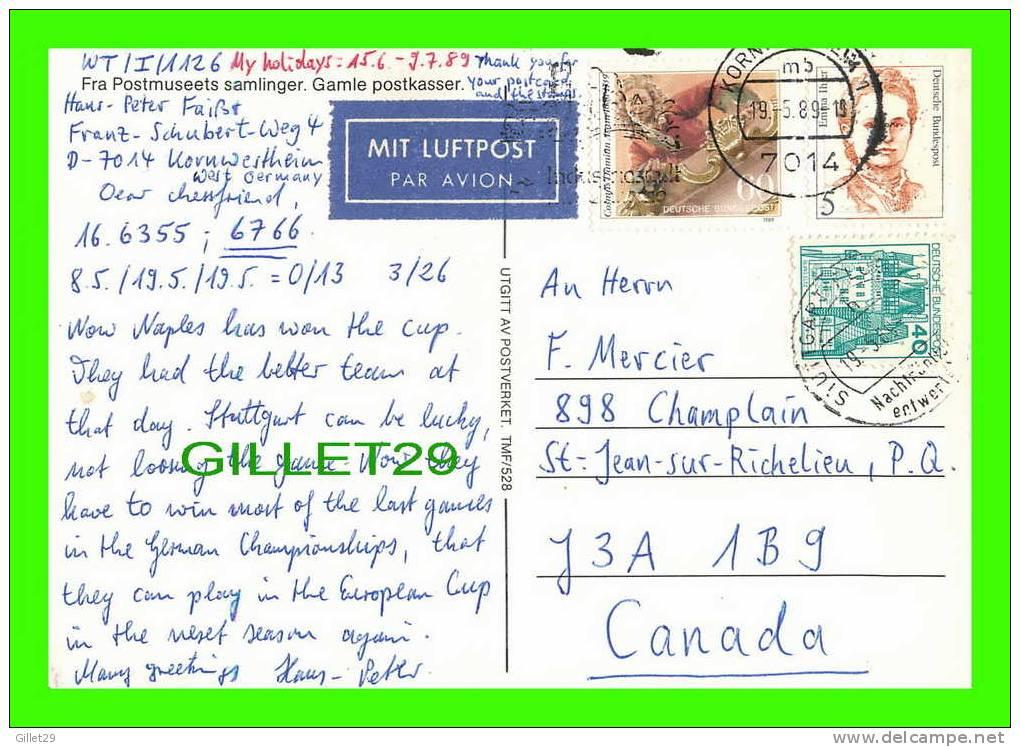 POST OFFICE - NORWAY,  POSTKASSE - GAMLE POSTKASSER - NORGE - NORVÈGE - FRA POSTMUSEETS SAMLINGER - TRAVEL IN 1989 - - Poste & Facteurs