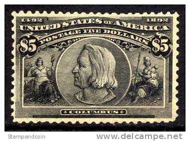 US #245 Mint Hinged $5 Columbian Exposition Of 1893 - Unused Stamps